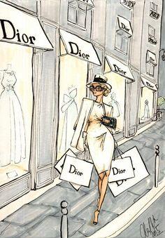 Dior shopping by Alex Douglas Newton illustration