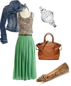 Green and cheetah. Spring outfit