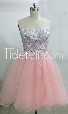 2015 New Homecoming Dress A-line Sweetheart Short Tulle Homecoming Dresses Beaded Sequins