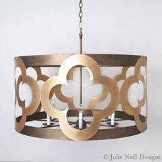 Quinn Large Chandelier | Julie Neill Designs - Fine Lighting Handcrafted in New Orleans #lighting #chandeliers #customlighting #customsizes #quatrefoils #gilded #interiordesign #homedecor #madeintheus