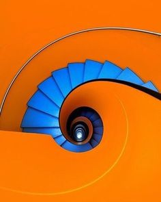 """Blue as an orange by Eric """"Kala"""" Forey on spiral staircase escalera de caracol Orange Aesthetic, Take The Stairs, Stair Steps, Complimentary Colors, Bold Colors, Stairway To Heaven, Art Furniture, Stairways, Color Inspiration"""