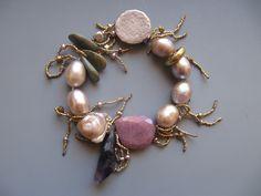 Bracelet Raw ruby, amethyst, turquoise, antique silver button LuciaAntonelli.com