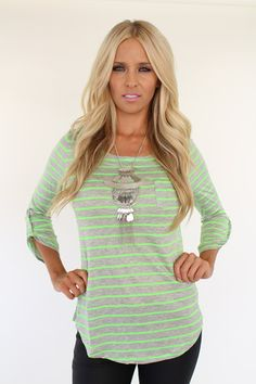 Lime Lush Boutique - Neon Green Striped Patch Pocket Top With Roll Up Sleeves, $34.99 (http://www.limelush.com/neon-green-striped-patch-pocket-top-with-roll-up-sleeves/)