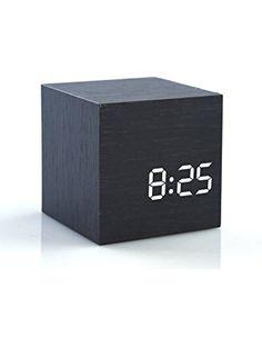 HI-BOOM Cube Wood LED Alarm Clock - Time Temperature Date - Sound Control ❤ HI-BOOM