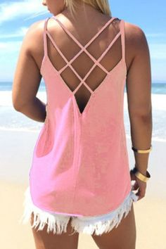 Stylish Scoop Neck Sleeveless Solid Color Hollow Out Women's Tank TopVests & Tank Tops | RoseGal.com