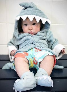"After a long day of swimming, this little shark is ready to relax! | 10 Adorable Shark Babies + A ""Fintastic"" Giveaway 