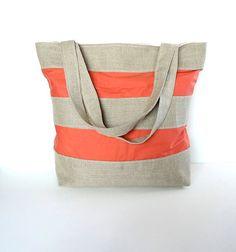 Coral Striped Linen Burlap Tote Bag