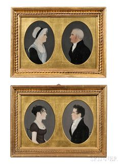 """Attributed to """"Mr. Boyd"""" (possibly Harrisburg, Pennsylvania, area, early 19th century), Four Miniature Profile Portraits, Reportedly of 