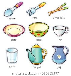 Vector illustration of Cartoon tableware vocabulary Learning English For Kids, English Lessons For Kids, Kids English, English Language Learning, English Study, Teaching English, English Class, Learn English Grammar, English Vocabulary Words