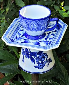 Garden Totem Stake Blue and White Teacup by GardenWhimsiesByMary, $30.00