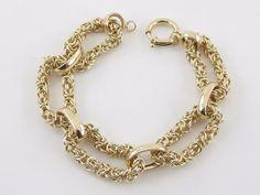 14K Yellow Gold Byzantine Rolo Link Toggle Spring Clasp Bracelet 14.6 grams #Handmade #Statement