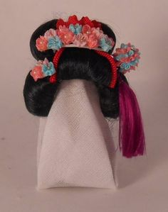 Geisha+Collection+Wig+on+Presentation+Stand+Yukari+Masu+-+$158.00+:+Swan+House+Miniatures,+Artisan+Miniatures+for+Dollhouses+and+Roomboxes