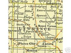 More than 285 pages of Lawrence County, Missouri history and genealogy including 117 pages of  family biographies plus more than 40 Lawrence County, Missouri communities on 6 different maps including Mount Vernon, Pierce City, Aurora, Stotts City, Miller, Halltown, Peirce City