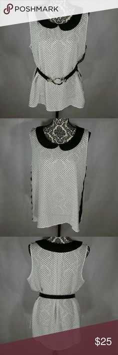 PRETTY SEMI SHEER DRESSY TOP (BELT NOT INCLUDED) This top is marked as a large but is without a doubt an Xlarge.   That being said it is very pretty and can be worn for all kinds of different occasions.  Machine washed and hung dry. Tops Blouses