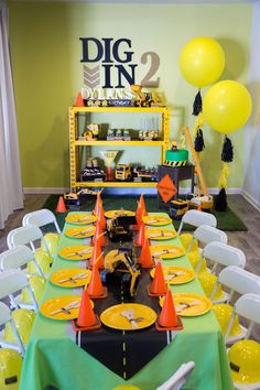 Do you have a construction-loving child? Are you planning a construction party? Kara's Party Ideas has bulldozing party ideas here! November Birthday Party, Digger Birthday Parties, 2nd Birthday Party For Boys, Toddler Boy Birthday, Birthday Party Decorations, Birthday Banners, Farm Birthday, Boys 2nd Birthday Party Ideas, Birthday Invitations