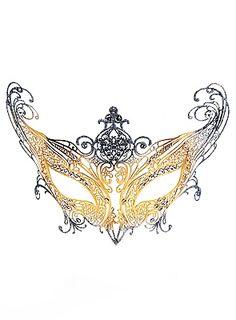 Colombina Contessa de metallo oro argento Venetian Metal Mask