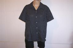 JONES NEW YORK Shirt Blouse Plus 1X Black White Polka Dots Button Front Womens #JonesNewYork #ButtonDownShirt #Casual