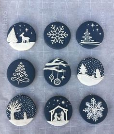 Christmas decorations made of polymer clay # Christmas decorations - Craft Clay Christmas Decorations, Polymer Clay Christmas, Christmas Ornament Crafts, Polymer Clay Crafts, Christmas Projects, Christmas Cookies, Holiday Crafts, Ornaments Ideas, Christmas Ideas