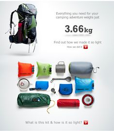 Everything you need for your camping adventure weighs just 3.66kg. Download images for more infomation.