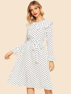 SheIn offers Ruffle Trim Polka-Dot Dress & more to fit your fashionable needs. 80s Dress, Dress P, Manu Manu, Women Church Suits, Korean Dress, Chiffon Maxi Dress, Latest Dress, Ruffle Trim, Maternity Dresses