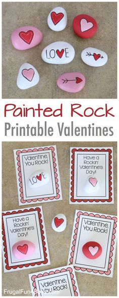 Painted Rock Valentines - Heart painted rocks and printable Valentine Cards #valentinesday #valentinesforkids #rockpainting