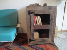 Bregman ~ Handmade Reclaimed Wood Record Cabinet Book Case