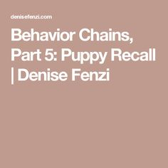 Behavior Chains, Part 5: Puppy Recall | Denise Fenzi