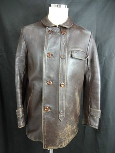 Vtg 30s Leather Jacket Bomber Aviator Motorcycle Flight ...