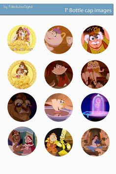 Free Bottle Cap Images: Beauty and the Beast free digital bottle cap templ...