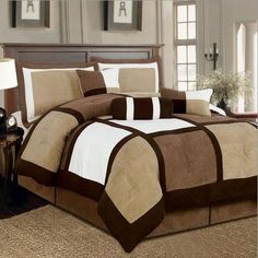 This Brown and White Micro Suede Patchwork Comforter Set would be a great addition to your home. It is made of micro suede material and comes in a Brown and White patchwork design.