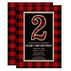 Rustic Red Black Buffalo Plaid 2nd Birthday Party Card - invitations custom unique diy personalize occasions