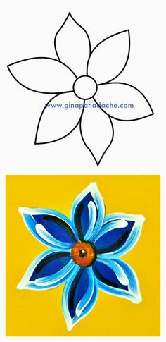 Atelier Gina Pafiadache: Flor Campestre em Bauernmalerei One Stroke Painting, Tole Painting, Fabric Painting, Painting & Drawing, Painting Lessons, Art Lessons, Painting Tips, Folk Art Flowers, Flower Art