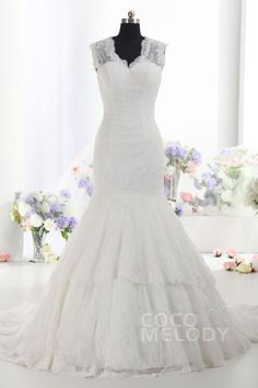 Fantastic Trumpet-Mermaid V-Neck Dropped Train Lace Ivory Sleeveless Key Hole Wedding Dress with Appliques h7al0047
