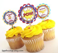 Wonder Woman Cupcake Toppers by kppboutique on Etsy, $10.00