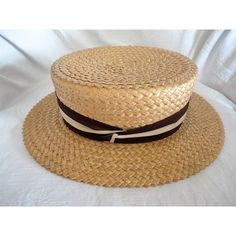 Men's Panama Straw Boaters Hat Meadowbrook Skimmer Hat Size 7 Vintage... ($195) ❤ liked on Polyvore featuring men's fashion, men's accessories, men's hats, vintage mens hats, mens straw boater hat, mens hats, vintage mens accessories and mens boater hat