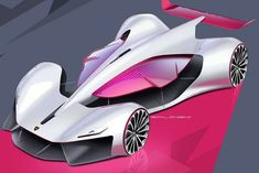 futuristic pink racer car design Maserati ? concept design vehicle, supercar design sketch, hand rendering
