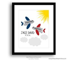 Boys Room Wall Art Airplane Art Print by PitterPatterPrint on Etsy