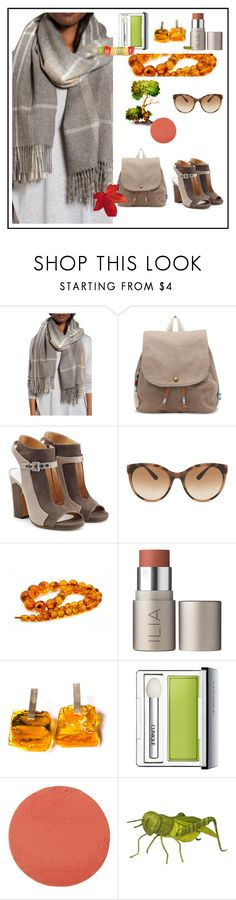"""""""Crisp edge of autumn in the warm summer air"""" by onenakedewe ❤ liked on Polyvore featuring Eileen Fisher, TOMS, Maison Margiela, Burberry, Ilia, Clinique, Charlotte Tilbury, amber, taupe and cashmere"""