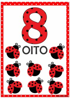 Numerais Joaninha para Imprimir Grátis Number Flashcards, Flashcards For Kids, Kids Math Worksheets, 1st Grade Worksheets, Numbers Preschool, Preschool Math, Miraculous Ladybug Party, Math Board Games, Lego Activities