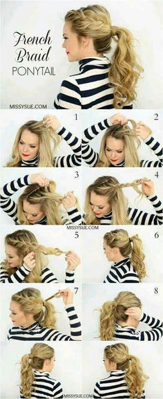 06 Cute Braided Hairstyles for Girls New-Side-French-Braid-Pferdeschwanz Ponytail Hairstyles Tutorial, French Braid Hairstyles, Work Hairstyles, Hairstyle Tutorials, Hairstyle Ideas, Trendy Hairstyles, Curly Ponytail Hairstyles, Ponytail Ideas, Step By Step Hairstyles