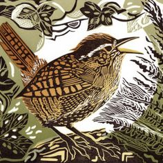 This linocut of a Wren is by Yorkshire based artist Pam Grimmond. I choose it because I like the neutral tones and how the wrench is centred in the middle by the plants. Linocut Prints, Art Prints, Block Prints, Wood Engraving, Woodblock Print, Bird Art, Painting & Drawing, Encaustic Painting, Printmaking