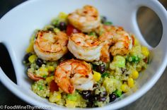 quinoa and bean salad with shrimp