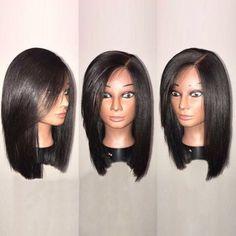 Side Parting Straight Bob Medium Synthetic Wig