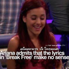 I love her song Break Free. Ariana Grande Quotes, Ariana Grande Facts, Ariana Grande Pictures, Sam And Cat, Jessie J, Jason Derulo, Cat Valentine, Funny Video Memes, Big Sean