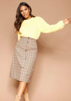 41cfe524fc9 Missyempire - Saima Checked Button Up Midi Skirt Lace Skirt, Midi Skirt,  Button Up
