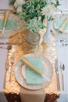 Sequin Tablecloths / Wedding Style Inspiration / LANE