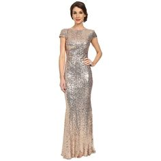 Badgley Mischka Sequin Cowl Back Gown Women's Dress ($615) ❤ liked on Polyvore featuring dresses, gowns, boatneck dress, badgley mischka evening dresses, draped dress, short sleeve sequin dress and sparkly dresses
