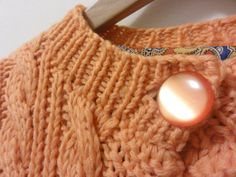 Chunky Cable Knit Midi Coat Pastel Orange Peach by LaSirenaVintage, $45.00
