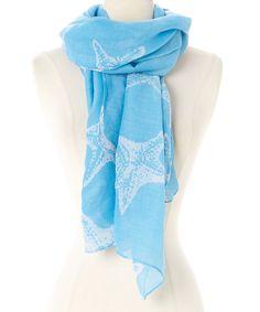Light Blue & White Starfish Scarf by Joy Accessories #zulily #zulilyfinds