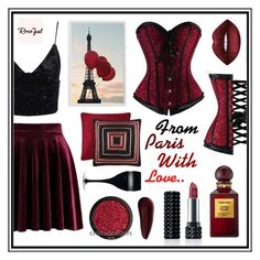 """""""From Paris with love"""" by beanpod ❤ liked on Polyvore featuring Kat Von D, J. Queen New York, Tom Ford, Surratt, Pottery Barn and Waterford"""